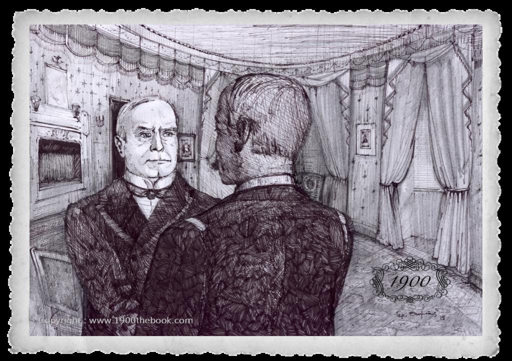 """Στον Λευκό Οίκο   Ο Πρόεδρος των Η.Π.Α Γουίλιαμ Μακ Κίνλεϊ, υποδέχεται τον Κυβερνήτη του """"ΜΙΑΟΥΛΗ"""" Αντιπλοίαρχο Παύλο Κουντουριώτη στο κυανούν δωμάτιο."""